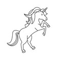 unicorn fantasy horse cartoon in black and white vector image vector image