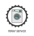 Washing machines repair service logo with cogweel vector image