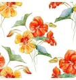 Watercolor nasturtium flower pattern vector image