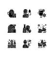 winter season vacation black glyph icons set vector image