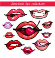 woman fashion lip gestures set girl mouths close vector image vector image