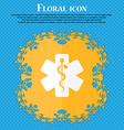 Medicine icon Floral flat design on a blue vector image