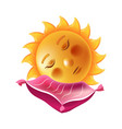 bright sun that sleeps on soft pink pillow vector image