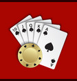 a royal flush of spades with gold poker chip on vector image vector image