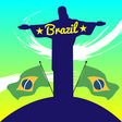 abstract brazil design with statue and country vector image
