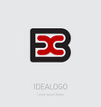 b and x initial logo bx initial monogram logotype vector image