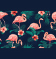 beautiful flamingo bird tropical flowers vector image vector image
