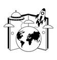 book world rocket spaceship vector image