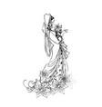 bride sketching vector image