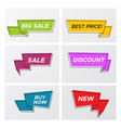bright trendy sale ribbon tags in bright colors vector image vector image