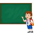 cartoon school boy in uniform writing vector image vector image