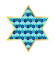 chanukah gold star with dreidel pattern vector image