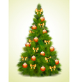 Christmas tree with balls and bows vector image