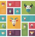 Colorful flat farm animals icons with long shadow vector image