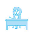 contour woman teacher sitting and explaining to vector image vector image