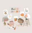cute cartoon kids painting pictures about autumn vector image