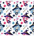 cute cartoon magical halloween seamless pattern vector image