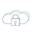degraded outline close padlock and data cloud vector image vector image