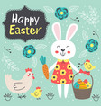 easter card with cute rabbit and chicken vector image vector image