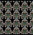 embroidery floral baroque seamless pattern black vector image