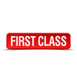 first class red 3d square button isolated on white vector image