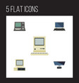 flat icon computer set of computer computing vector image vector image