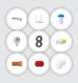 flat icon sanitary set of cast plastic pressure vector image
