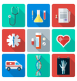 flat style medical icons set vector image vector image