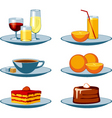 food icons drinks and sweets vector image vector image