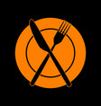 fork knife and plate sign orange icon on black vector image vector image