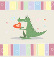 funny cartoon crocodile with a heart greeting card vector image vector image