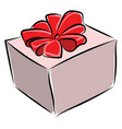 gift box with red bow on white background vector image