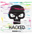 glitch hacker black skull with text vector image vector image