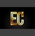 gold alphabet letter ec e c logo combination icon vector image