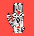 halloween evil bunny rabbit knife blade cartoon vector image