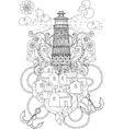 Hand drawn doodle outline lighthouse boho vector image
