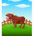 happy cow cartoon on the field vector image vector image