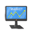 market with computer screen on white vector image