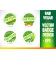 Raw vegan Badge Logo Logo vector image vector image