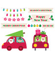 santa claus in a car christmas design elements vector image vector image