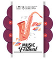 saxophone instrument to music festival event vector image vector image