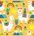 seamless pattern with funny llama and cacti vector image vector image