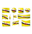 set brunei flags banners banners symbols flat vector image