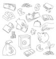 set doodle money symbol vector image vector image