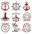 set nautical emblems isolated on white vector image