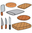 Set of knife and chopping block