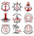 set of nautical emblems isolated on white vector image vector image