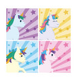 set of unicorns cartoons vector image vector image