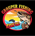 shirt design grouper fishing vector image vector image