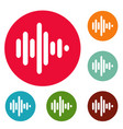 sound wave icons circle set vector image